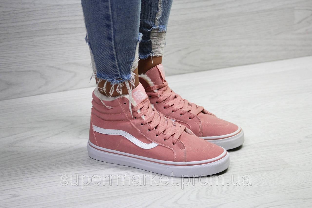 Ботинки Vans розовые (зима). Код 6503