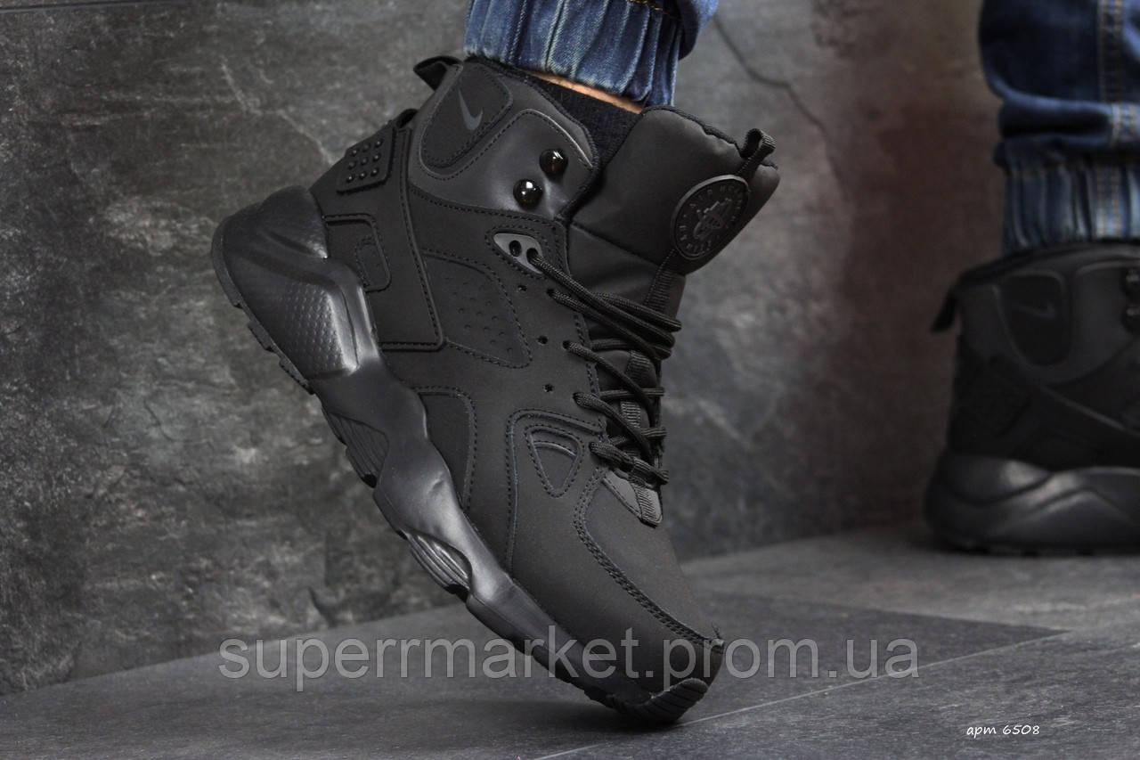Кроссовки Nike Huarache черные  зима , код6508