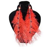 Дизайнерские серьги из красных перьев с кристаллами Сваровски