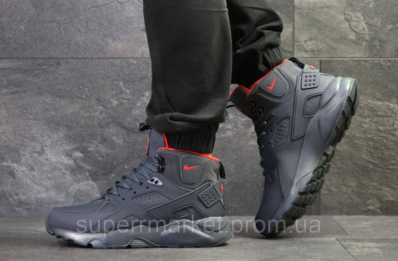 Кроссовки Nike Huarache темно-синие  зима , код6510