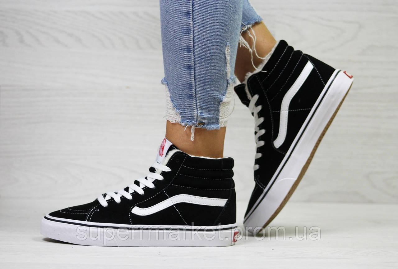 Ботинки Vans черные с белым (зима). Код 6513