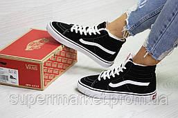 Ботинки Vans черные с белым (зима). Код 6513, фото 2