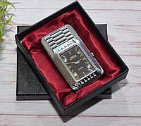 """Запальничка """"Годинник з підсвіткою"""" в коробочці сріблясті"""