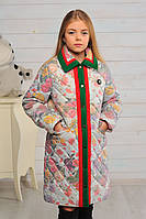 Пальто детское для девочки Лори цветы весна\осень 128,140см плащевка отделка кашемир