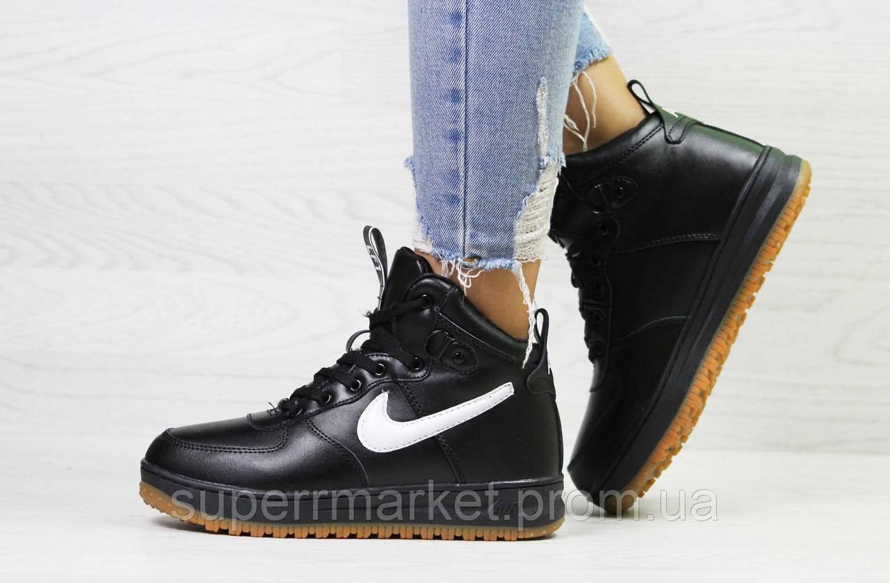 Кроссовки Nike Air Force LF-1 черные с белым (зима). Код 6658