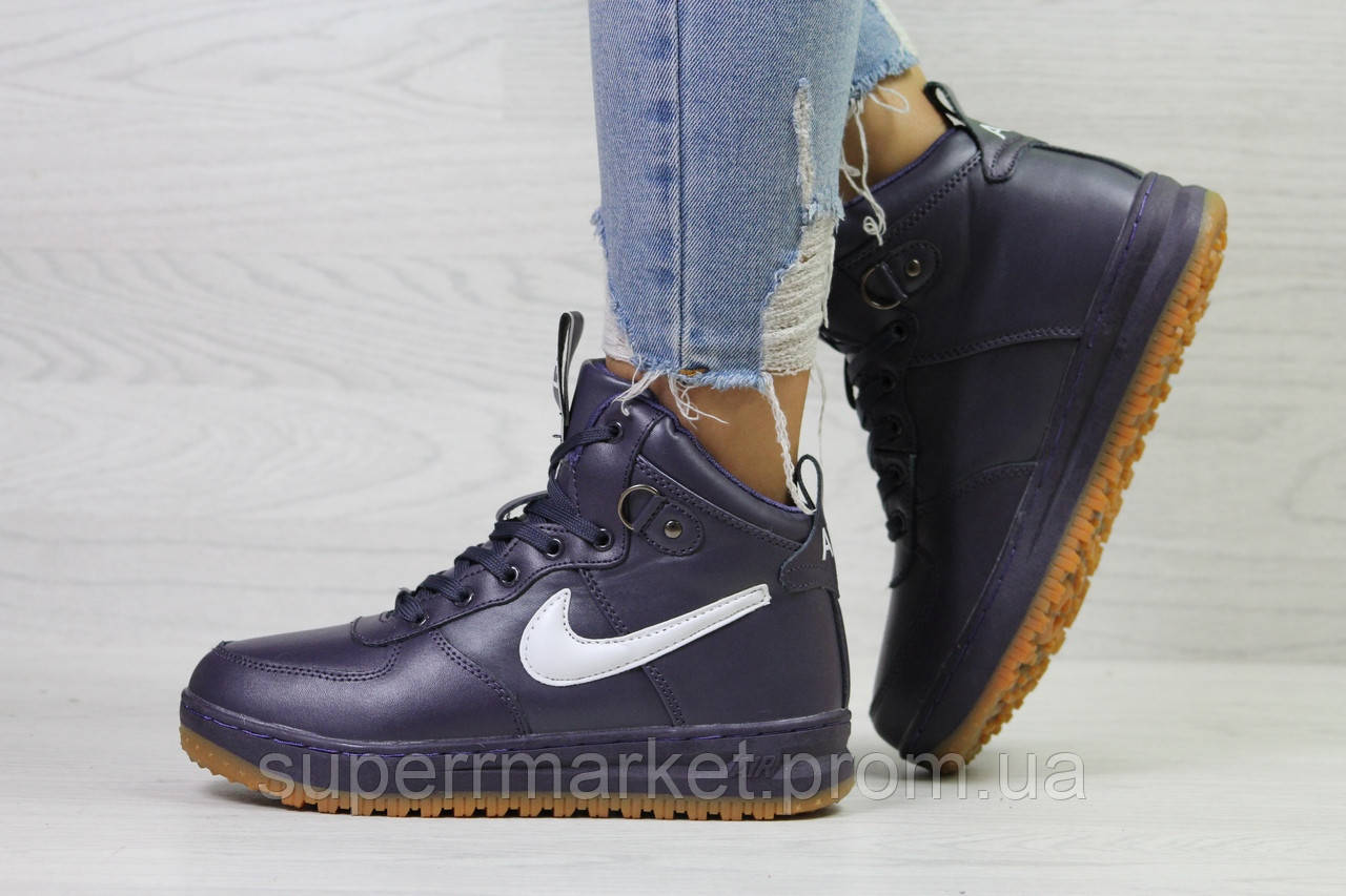 Кроссовки Nike Air Force LF-1 фиолетовые (зима). Код 6659