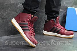 Кроссовки Adidas Cloudfoam бордовые  зима , код6678, фото 2