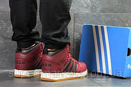 Кроссовки Adidas Cloudfoam бордовые  зима , код6678, фото 3