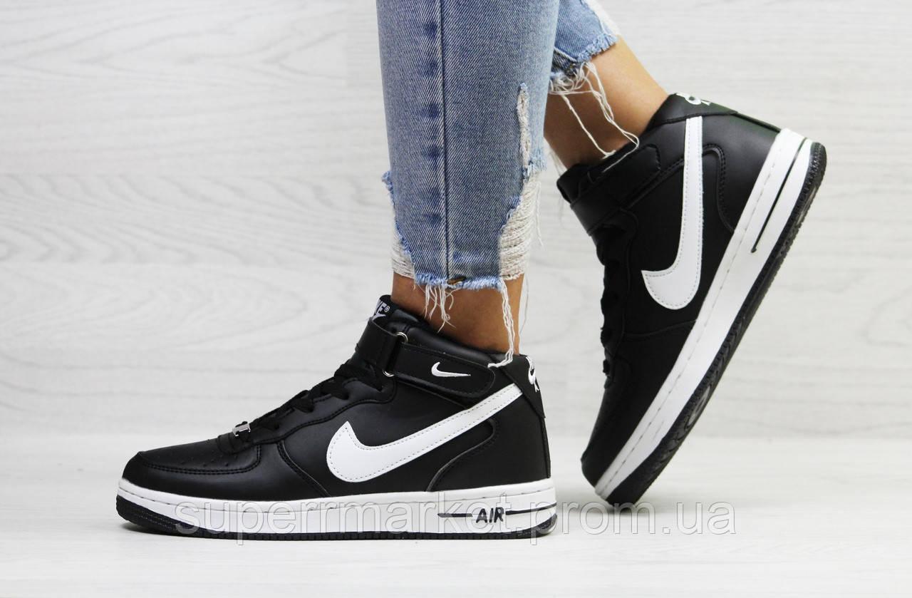 cba5cda3 Кроссовки Nike Air Force черные с белым (зима). Код 6672: купить по ...