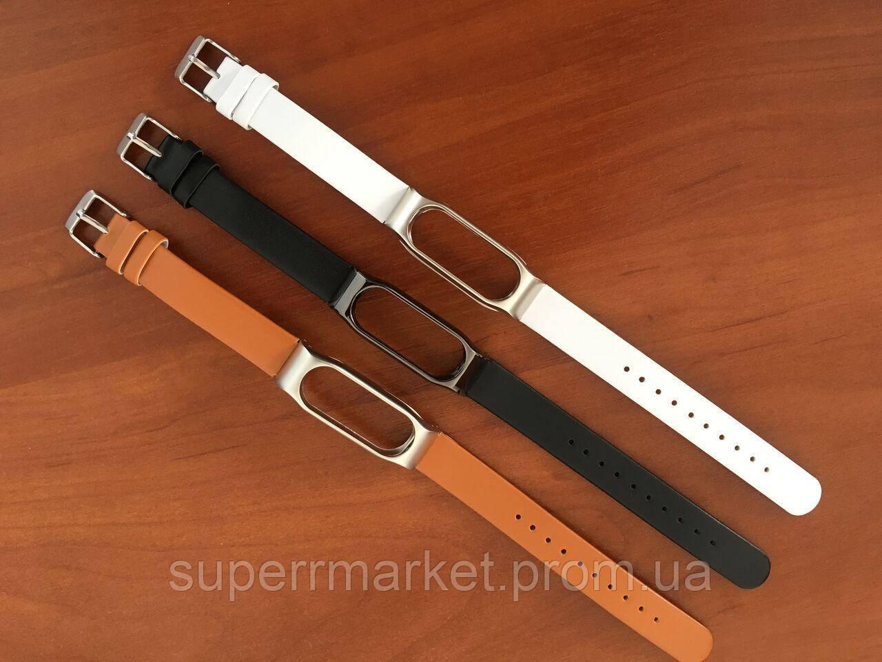 Ремешок кожаный не прошитый Mijobs PU Leather Band для Xiaomi MiBand 2