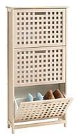Шкаф для обуви с 3 мя отсеками (Бамбук и МДФ.), фото 1