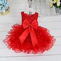 Нарядное детское пышное платье с бусинами и бантом красное ( на рост 80 см)