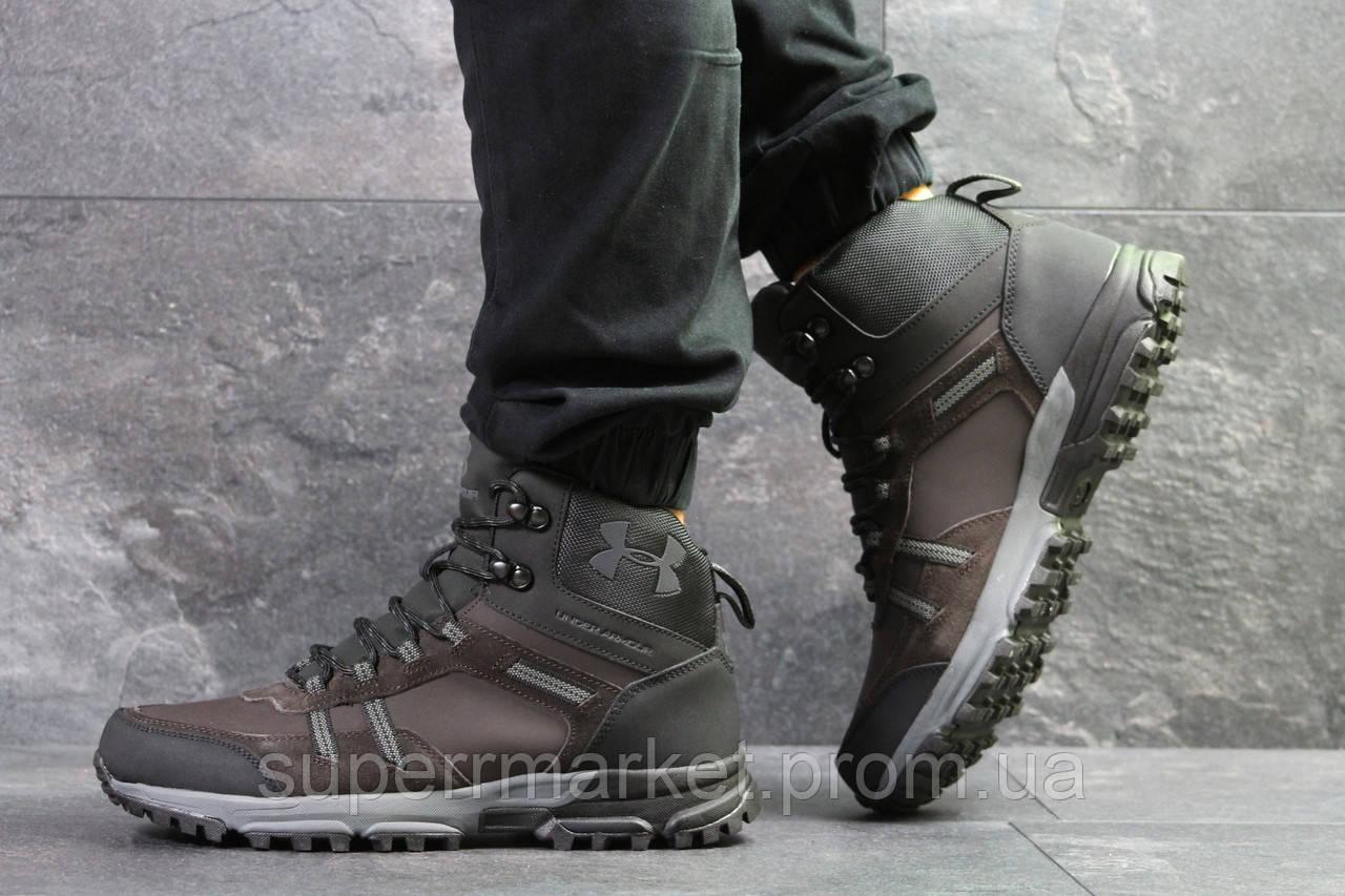 Ботинки Under Armour, коричневые с черным  (зима). Код 6724