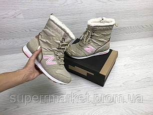 Ботинки New Balance бежевые с розовым (зима). Код 6729, фото 2