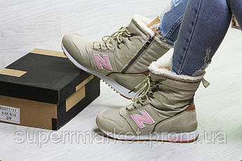 Ботинки New Balance бежевые с розовым (зима). Код 6729, фото 3