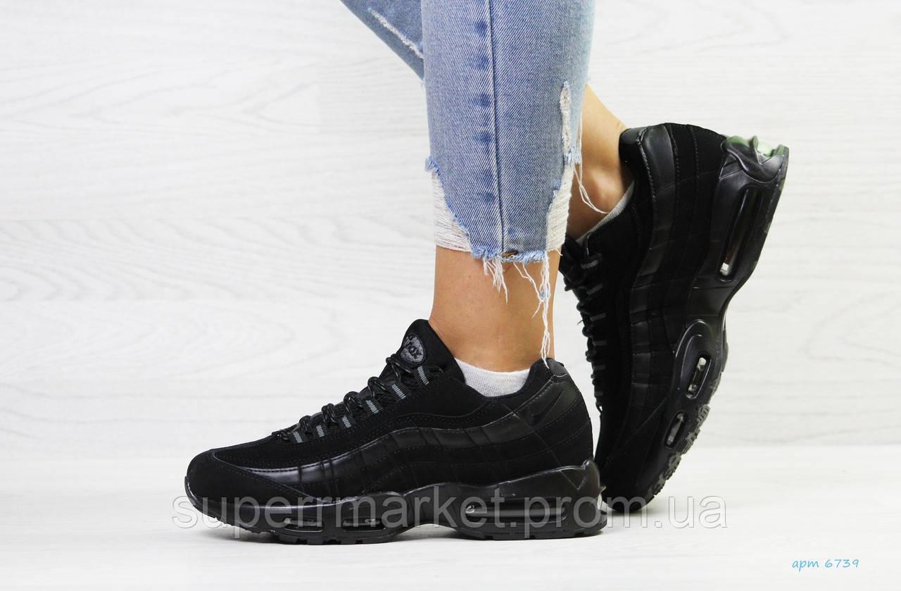 Кроссовки Nike 95 черные (зима). Код 6739