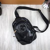 3cfe7bd0ff50 Трендовая женская сумка бананка Gucci черная слинг через плечо  искусственная кожа унисекс Гуччи люкс реплика