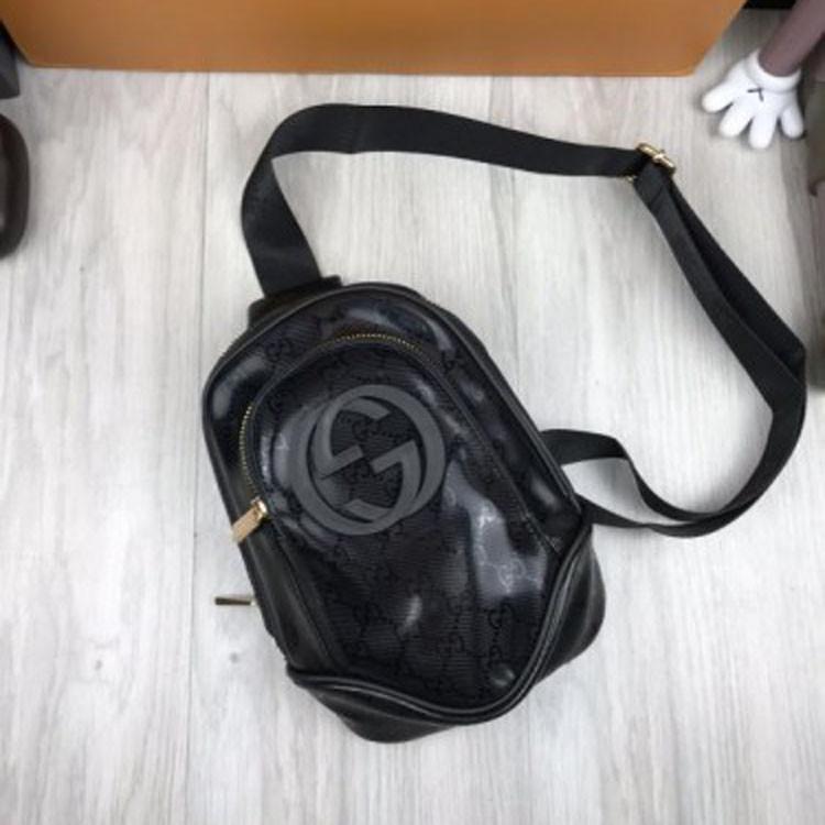 744d1aee0642 Трендовая женская сумка бананка Gucci черная слинг через плечо  искусственная кожа унисекс Гуччи люкс реплика
