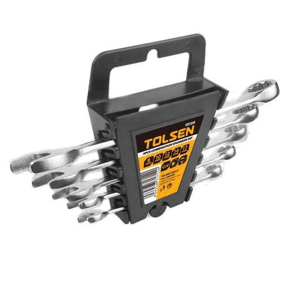 Набор ключей рожково-накидных Tolsen 5 шт CrV Satin finish (15155) пластиковый холдер