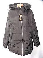 Куртка женская стеганая демисезон 138 большой размер черная оптом, фото 1