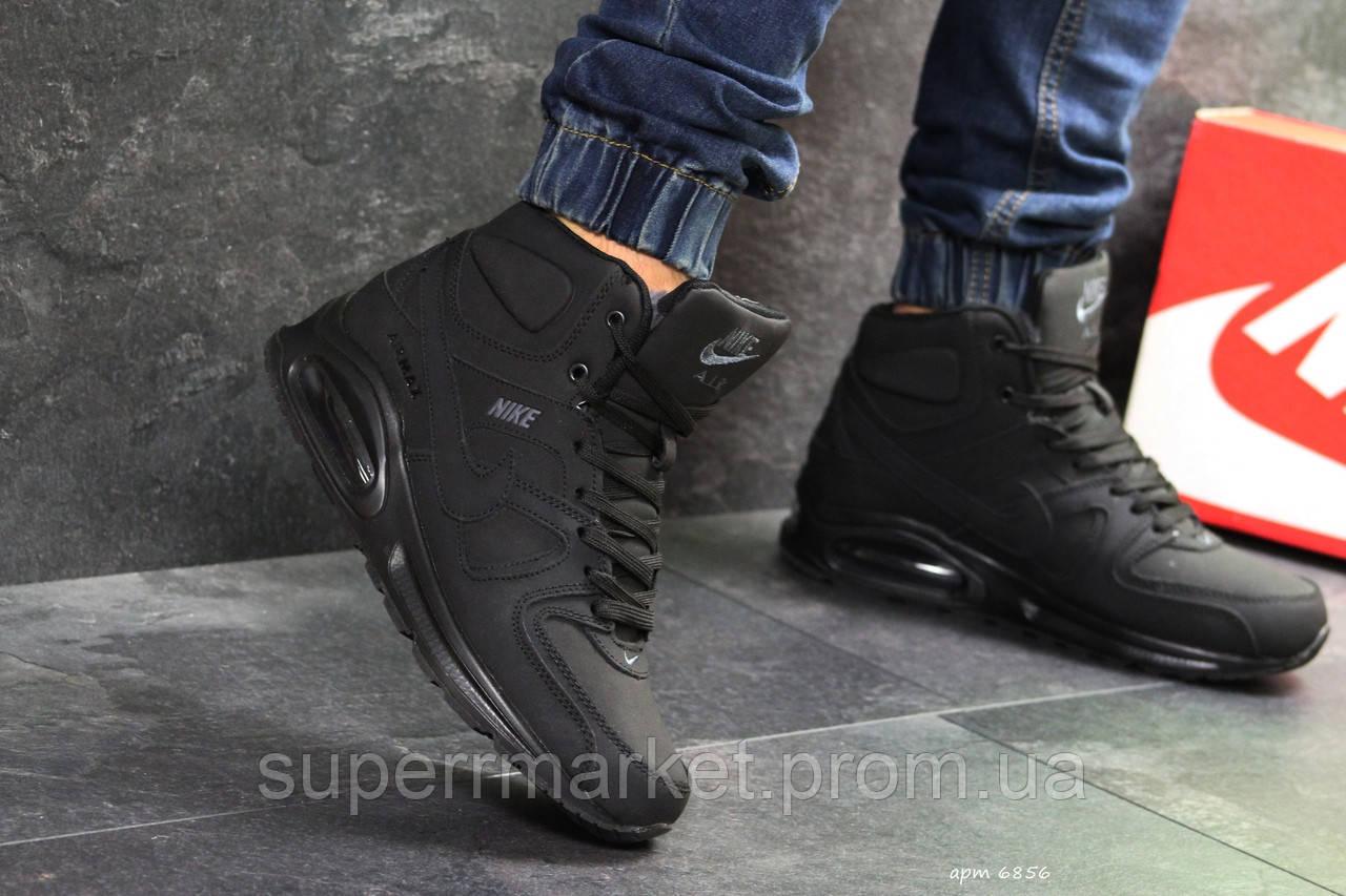 Кроссовки Nike Air Max 90 черный нубук  зима , код6856