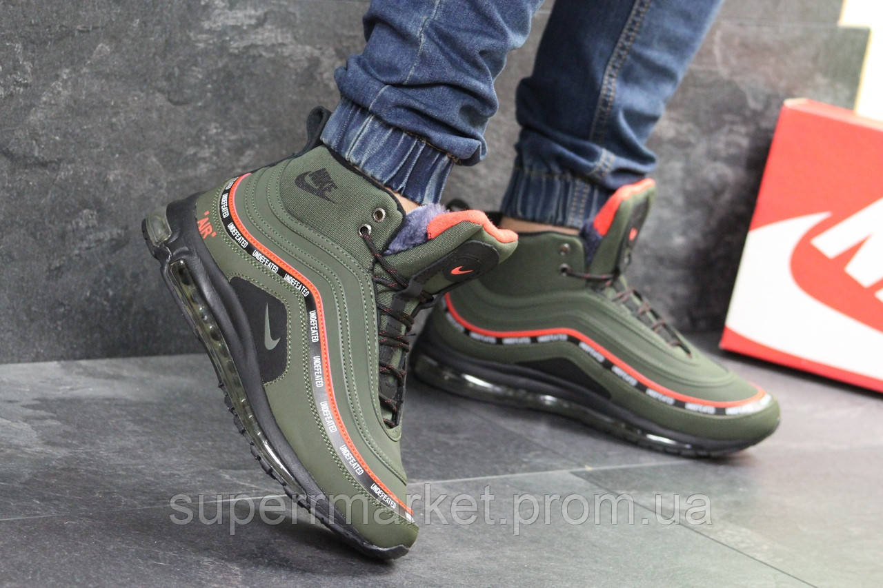 Кроссовки Nike Air Max 97 зеленые  зима , код6846