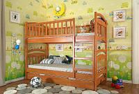 Кровать детская двухъярусная трансформер Смайл из натурального дерева
