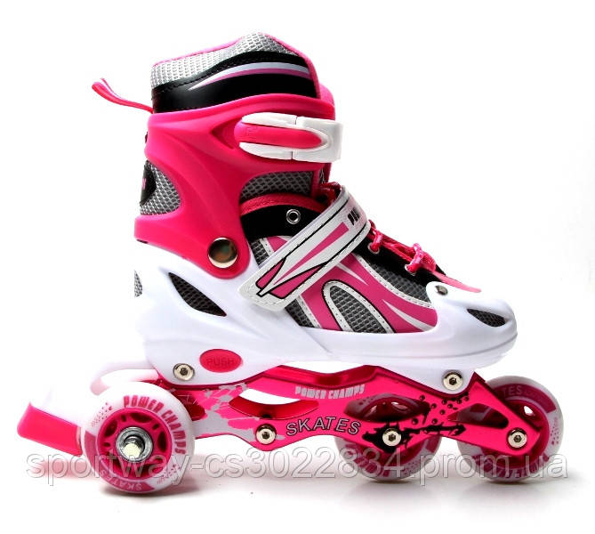 Ролики Sport Champs. Pink. Двойные колеса! р. 29-33,34-37