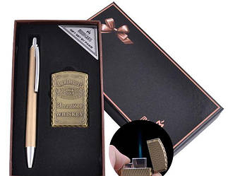Подарочный набор ручка, зажигалка (Острое пламя) №BX-002A