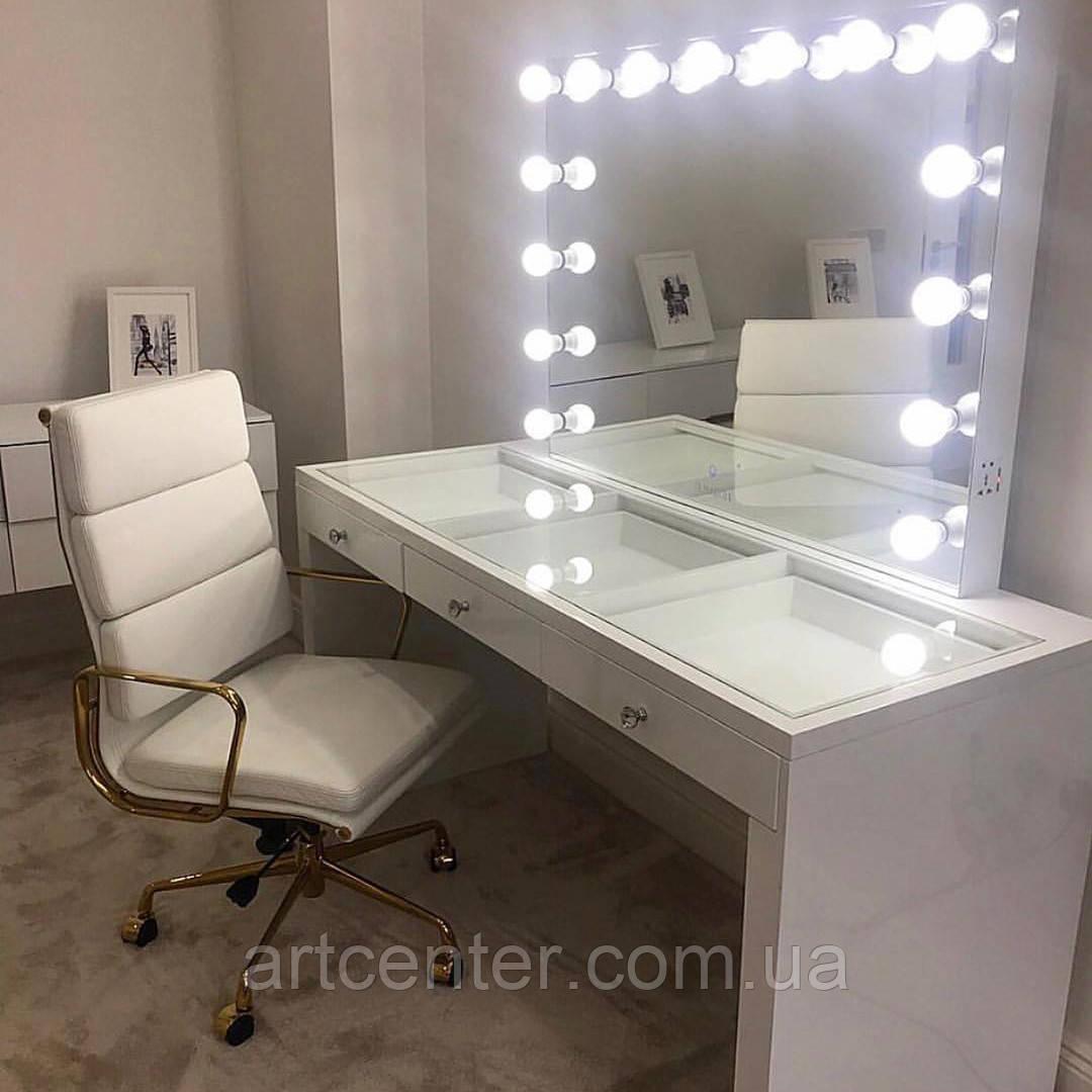 Гримерный стол с лампами и стеклянной столешницей, белый туалетный стол
