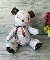 Мягкая игрушка мишка голубой с розовыми цветочками №2 ручная работа hand made