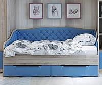 Кровать односпальная с мягкой спинкой Lion Л-9 + спинка-бортик.