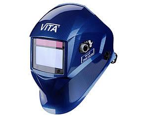 Сварочная маска хамелеон 3-A TrueColor (цвет металлические соты синие), фото 2