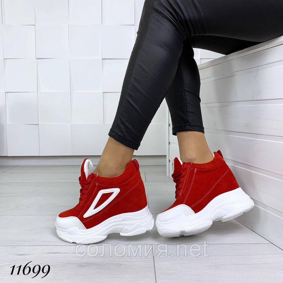 Женские демисезонные красные кроссовки на платформе танкетке сникерсы на  шнуровке f0d7a8ab4c149