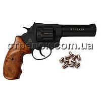 Револьвер под патрон Флобера Stalker 4.5 Black, коричневый пластик