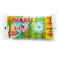 Губки кухонные Vivat Макси, упаковка 5 шт + 1 шт