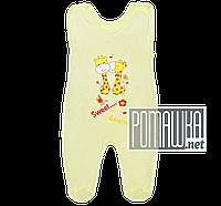 Ползунки высокие с застежкой на плечах р. 86 с начесом ткань ФУТЕР 100% хлопок ТМ Авекс 3167 Желтый В
