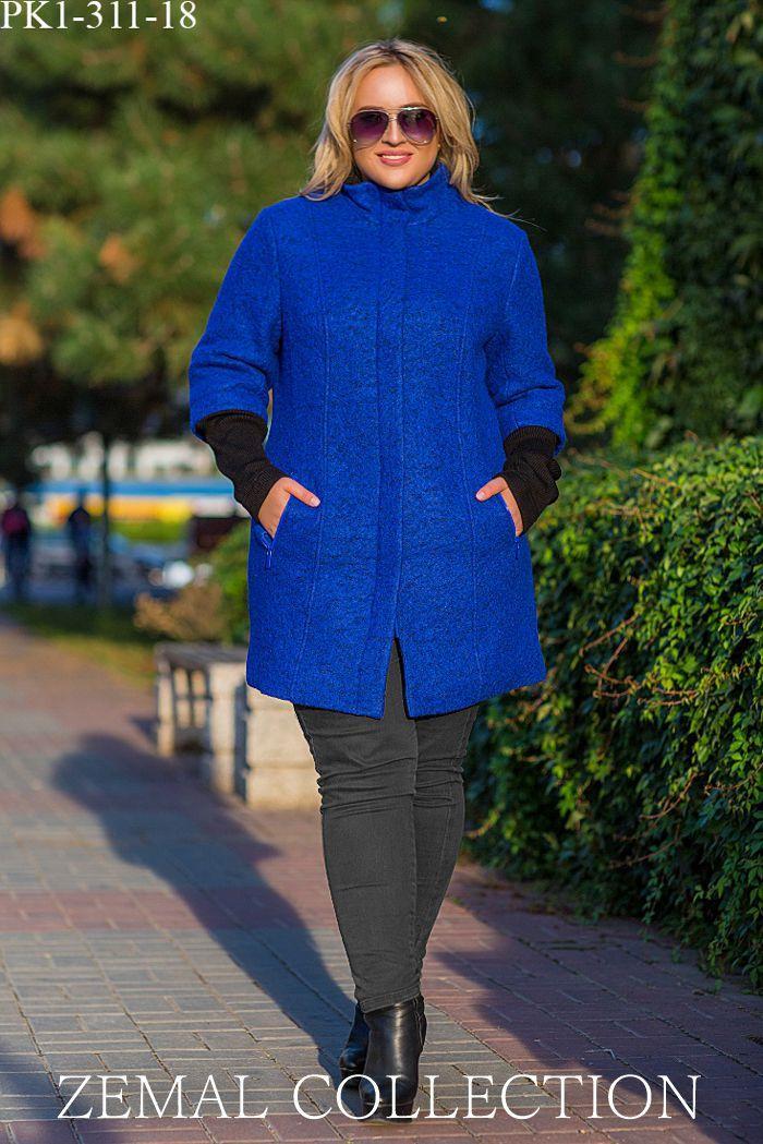 Женское полупальто прилегающего силуэта с карманами из шерстяной ткани большой размер