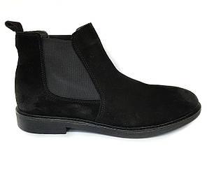 Зимние мужские замшевые ботинки челси Luciano Bellini черные, на цигейке