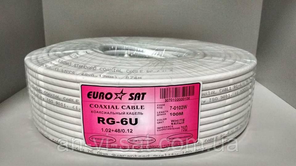 """Коаксіальний кабель RG-6U """"EuroSat"""" 1.02+48/0.12 (100м)"""