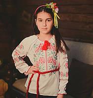 """Детская сорочка вышиванка для девочки """"Пара роз"""""""