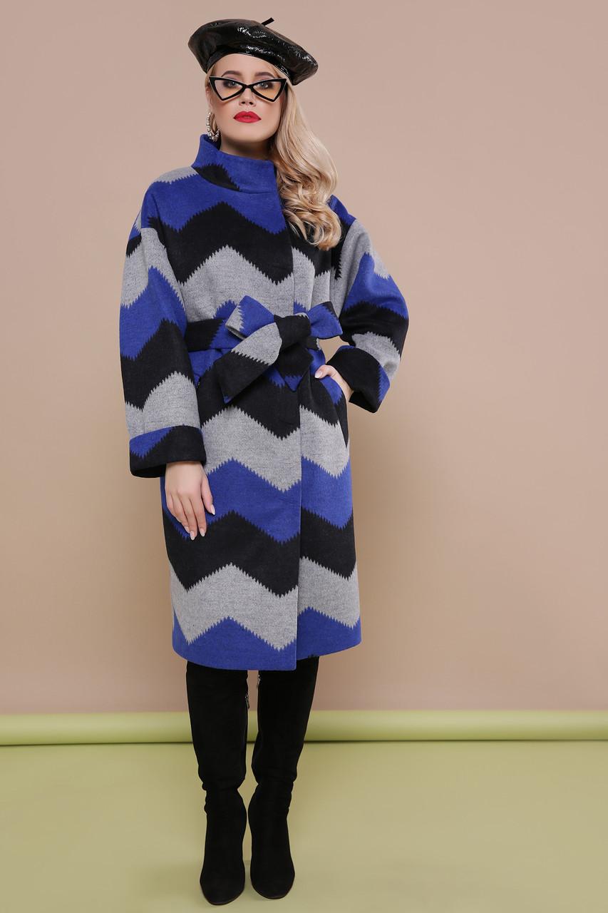 Красивое женское весеннее шерстяное пальто синее