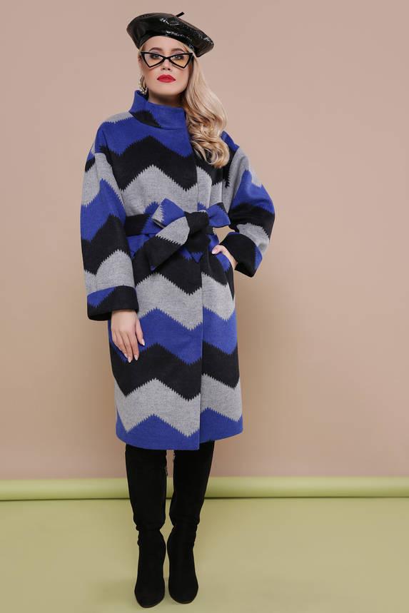 Красивое женское весеннее шерстяное пальто синее, фото 2