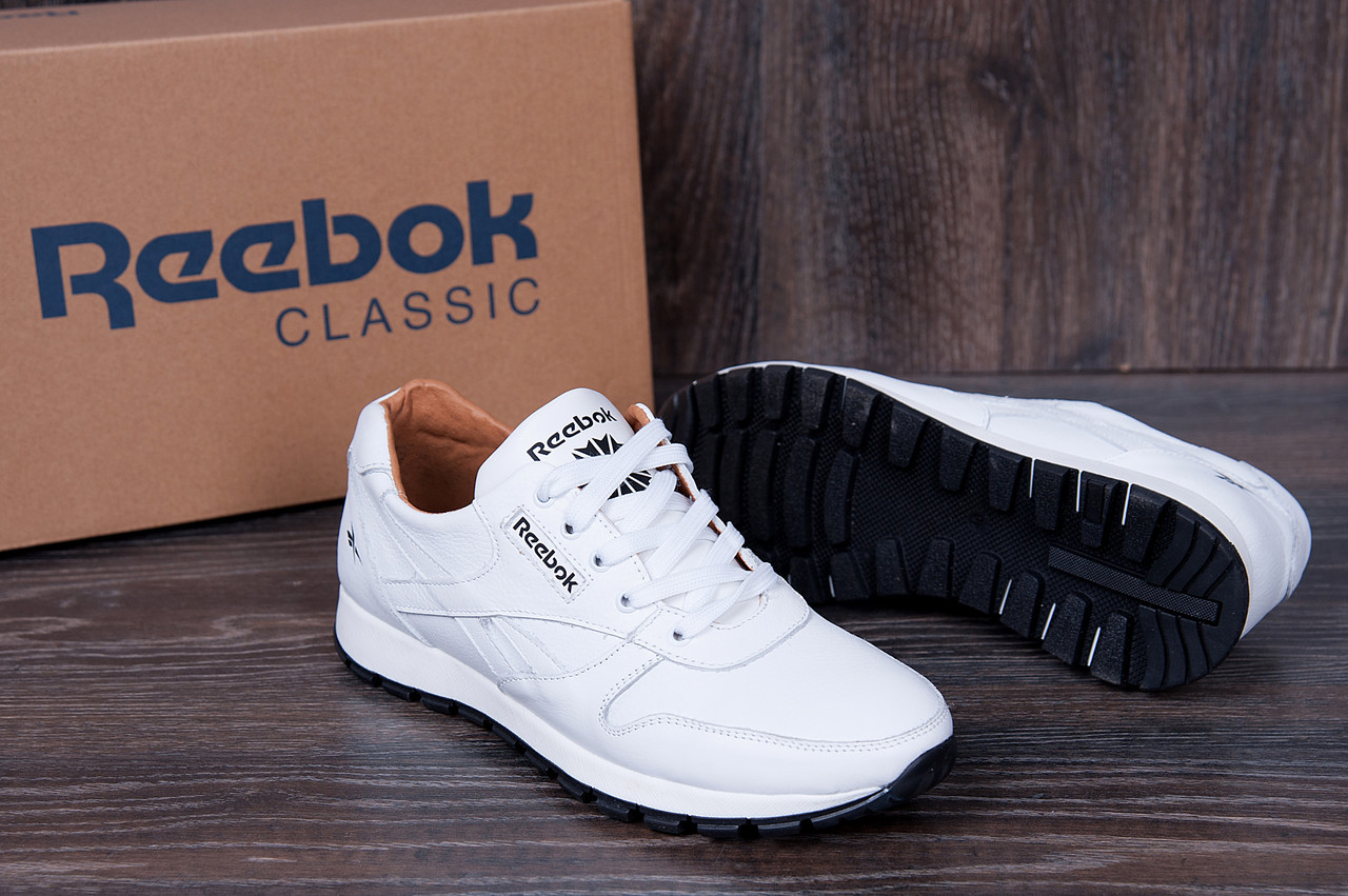 727120fe Мужские весенние кроссовки Reebok Classic натуральная кожа 2 цвета (реплика)