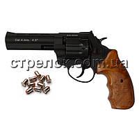 Револьвер под патрон Флобера Stalker S 4.5 Black, коричневый пластик
