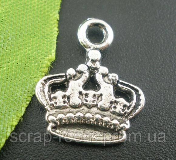 Подвеска металлическая Корона серебро 14*17 мм