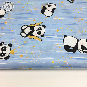 """Польская хлопковая ткань """"панды с золотыми звездами (глиттер) на голубом"""", фото 2"""
