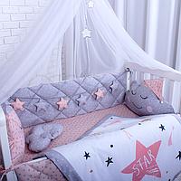 """Комплект в ліжечко для дівчинки """"Хмарки в ковпачках"""" (пудровий з сірим), фото 1"""