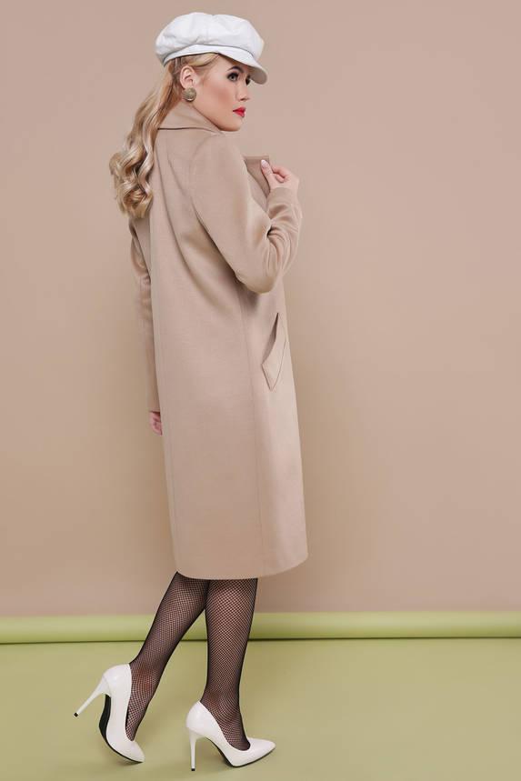 Модное бежевое пальто демисезонное шерстяное, фото 2