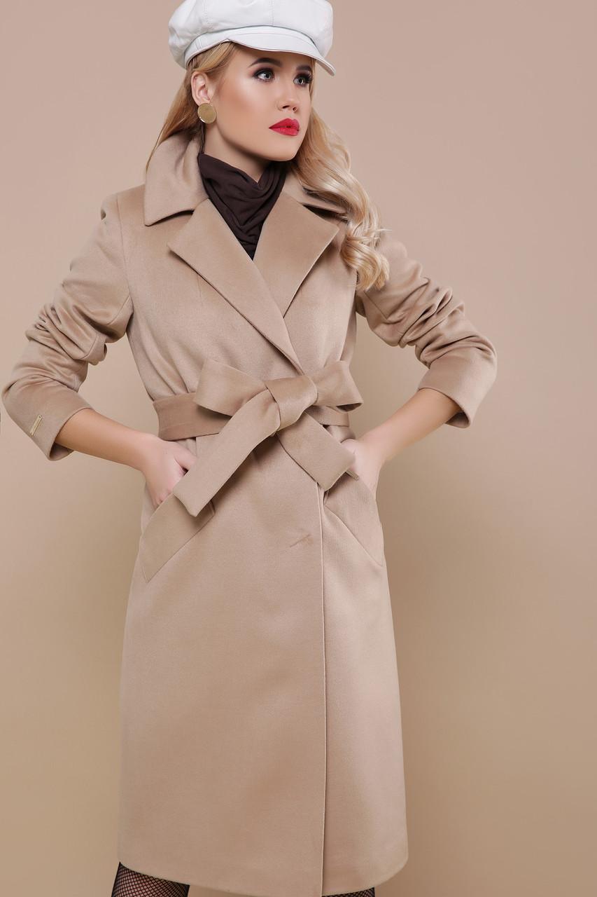 Модное бежевое пальто демисезонное шерстяное